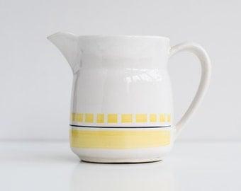 Vintage white milk jug - Soviet ceramic milk pitcher - Russian milk jug with yellow decor - 70s