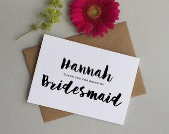 Bridesmaid card - Personalised bridesmaid thank you card - Card for Bridesmaid, Maid of honour, flower girl - Bridesmaid thank you card