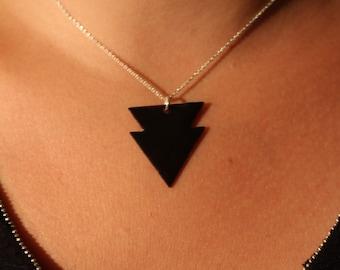 Enamel double triangle pendant in black
