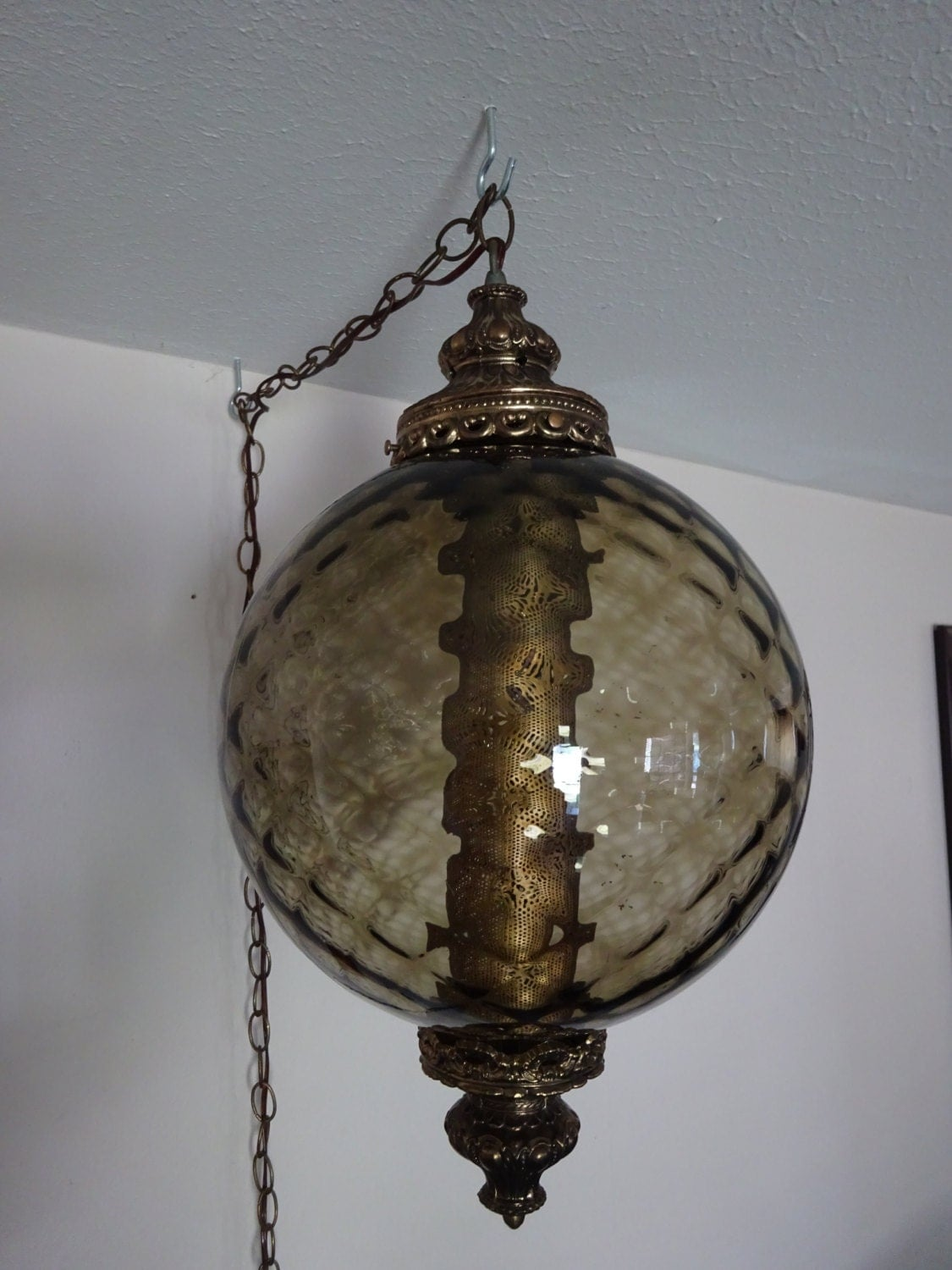 Vintage 1960 S 70 S Hanging Swag Lamp In Smoked Glass
