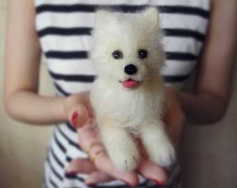 MADE TO ORDER - Needle Felted Sculptures - Lovely puppy - Miniature Wool Felt Dog