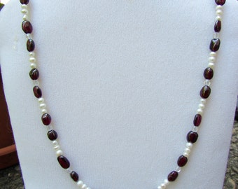 Genuine Garnet and Freshwater Pearl Necklace with Crystals