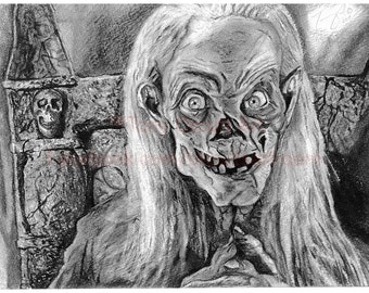 Tales From the Crypt Crypt Keeper Horror Poster of Charcoal Art by Artist Tony Orcutt