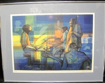 "Framed Sacha Chimkevitch ""Quartet"" Pencil Signed and Numbered Lithograph Jazz"