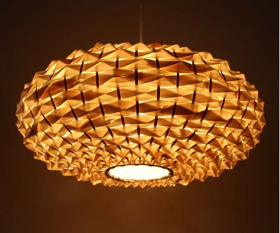 Bamboo Oval Table Lamp: Hand Woven Oval Shape Bamboo Lamp Fixtures-Pendant By VIWEI
