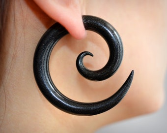 "Spiral Faux Gauged Earrings - Fakers - Fake Gauge Earrings and Ear Plugs in size 4g, 2g, 0g, 00g, 7/16"", 1/2"", 9/16"", 5/8"""