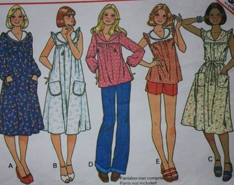 McCall's 5928  UNCUT Pattern Misses Yoked Dress or Top, 1970's fashion 1970's dress