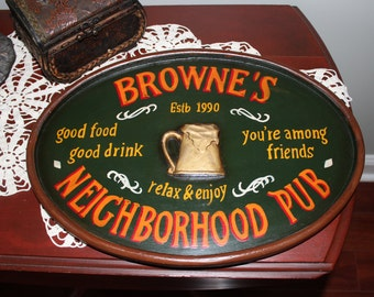 Vintage Hand Painted Wood Pub Bar Sign Man Cave