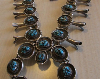 Gorgeous Navajo Turquoise and Silver Squash Blossom Necklace