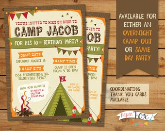 Camping Birthday Invitation // Camping Birthday Party Invitation // Camp Out Party // PRINTABLE