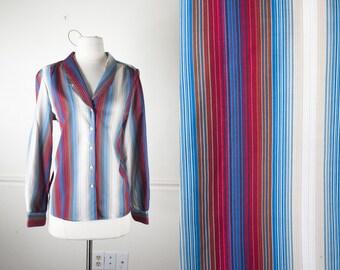 70s Blouse, Striped SECRETARY Blouse, 80s Blouse, Blue Striped Shirt, Button Down Shirt, Ombre Blouse, Striped Blouse Bohemian Top Retro Top