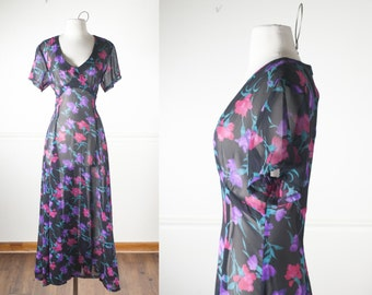 90s Grunge Maxi Dress, Sheer Floral Dress, Soft Grunge 90s Dress, Romantic Dress, Long Dress, Pastel Grunge Clothing, Rose Print Black Dress