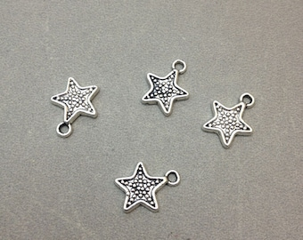 30 pcs of Antique Silver Star Charms 12mm