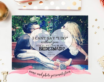 BRIDESMAID Proposal Puzzle / Will You Be My Bridesmaid or Maid of Honor custom photo puzzle with quote / personalized with your name