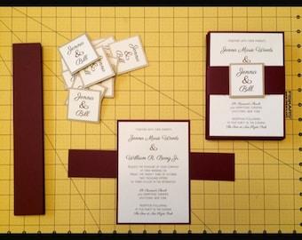 Burgundy Wedding Invitation with Belly Band, Beige and Burgundy Invitations, Invitation Belly Bands