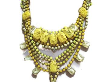 SUNSHINE hand painted yellow statement bib rhinestone necklace