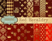 Heraldic Digital Paper - Red and Gold Leaf, Crowns,  Dragons, Vintage Damask Heraldic Crests Backgrounds, Heraldry Patterns Instant Download