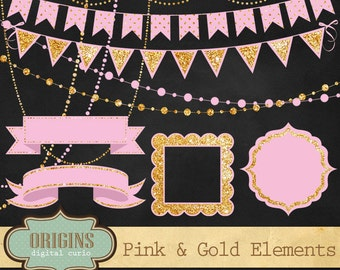 Pink and Gold Glitter Bunting Banners Clipart, String Lights Clip art, Ribbons and Frames Party Clipart