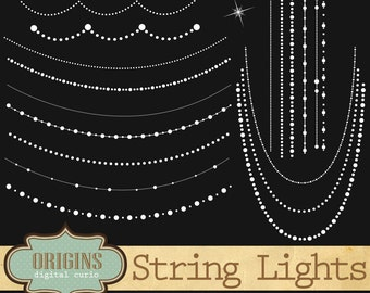 White String Lights Clipart - String of Lights Vector and PNG Clip art, sparkling fairy lights for weddings, commercial use instant download