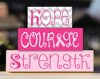 Breast Cancer Awareness Hope Courage Strength Trio Stack Set - Gift Wooden Sign Home Decor Cancer Free Anniversary