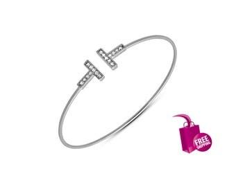 Double Bar Bracelet Silver T Cuff Bracelet 925 Sterling Silver