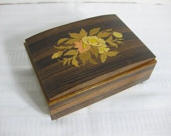 "Vintage Italian Wood Inlay Music Box, Trinket Box, Peonie Pattern, plays ""Funiculi, Funicula"""