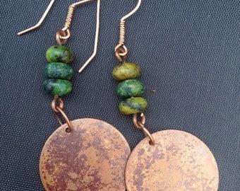 Long Earrings,Copper Earrings,Boho Earrings,Green Earrings,Chrysocolla Jasper Stones,Stone Earrings,Rustic Earrings,Earthy Earrings,Fall
