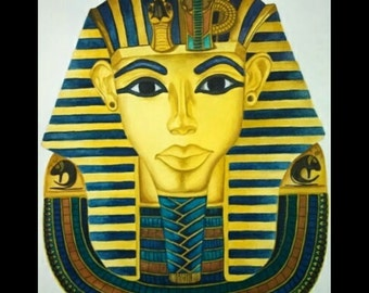 16x20 Original Watercolor King Tut, Egyptian art, Egypt, home décor, wall hanging art.