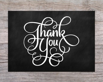 Chalkboard Instant Download Printable Thank You Cards PDF