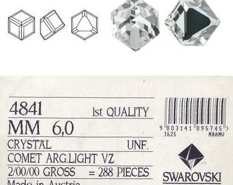 Swarovski 4841 cube 6mm crystal beautiful crystal to glue on. Price is for  1 stone