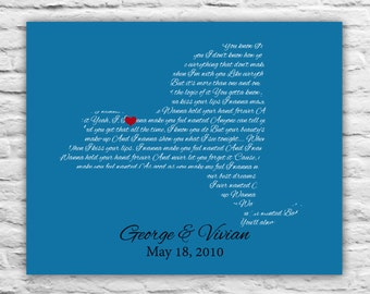 Wedding Song Art, Song Lyric Art, Song Lyric, Wedding Vow Art Wedding Vows Print - Gift Personalized Wedding - ANY STATE - 50th anniversary