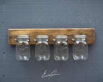 Reclaimed Wood Mason Jar Organizer