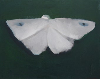 Beautiful White Moth Painting with Deep Green Background