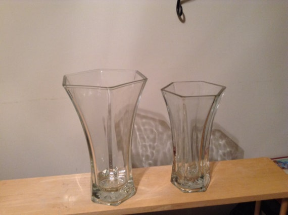 Hoosier Glass Vases Hexagon Shaped Vintage Clear Glass Vases