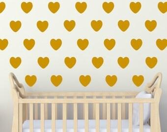 Heart Decal, Heart Nursery, Gold Heart Decals, Heart Decor, Nursery Decor, Girls Nursery, Wall Pattern Decals SET OF 24