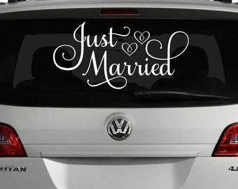 Just Married Car Decal, Just Married Sign for Car, Wedding Decoration, Wedding Car Decoration, Wedding Car Decal, Custom Just Married Sign