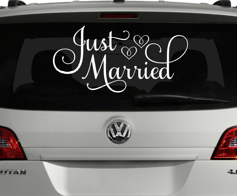 Just married car decal just married sign for car wedding like this item junglespirit Image collections
