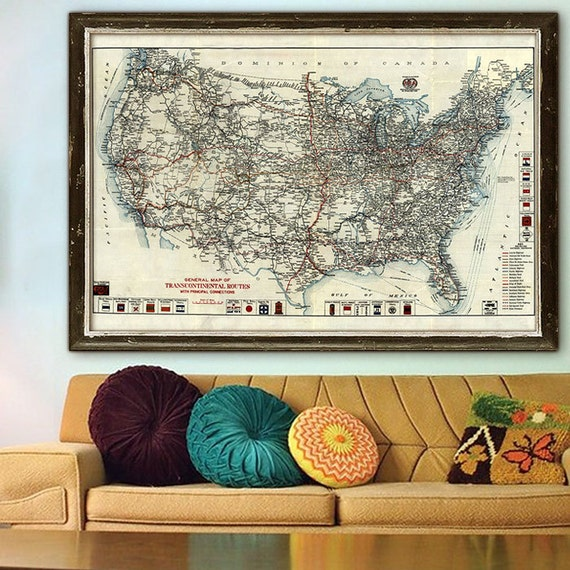 US Highway Map Vintage US Road Map Sizes Up To - Us road map poster