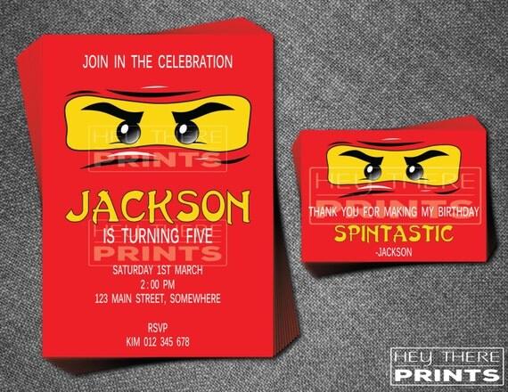 Ninjago Geburtstag Einladungen Und Danksagungen Lego Red
