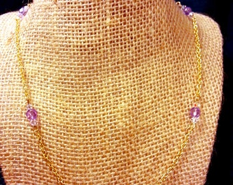 Simple Chain Necklace with Faceted Glass Beads - Lavender