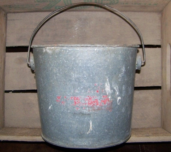 Vintage galvanized bucket with handle old metal pail rustic for Old metal buckets