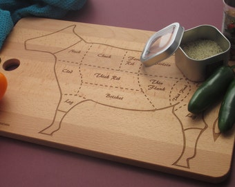 Large cutting board.  Beech wood cutting board etched with diagram showing where cuts of beef are located. Can be personalized on request