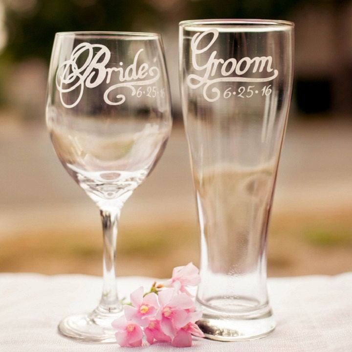 How Many Wine Glasses For Wedding Gift : Hand Engraved Personalized Glassware. by EVerre on Etsy