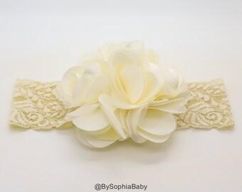 Ivory Flower Headband, Baby Flower Headband, Big Flower Headband, Baby Girl Headband, Photo Prop, Flower Girl Headband, Lace Headband, 909