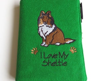 Fabric Notebook Cover in Bright Green Felt, Embroidered with Sheltie Design, Complete with A6 (Small) Notebook and Pen