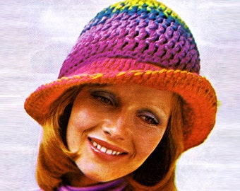 Crochet HAT Pattern Vintage 70s Crocheted Hat Pattern Crochet Cap Pattern Crochet Rainbow Hat