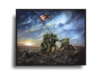 Flag Raising at Iwo Jima Painting