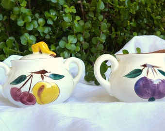 """Stangl """"Fruit"""" Pattern Covered Sugar Bowl and Creamer"""