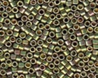 MIYUKI #11 Delica 508 - 24Kt Green Gold Plated AB - 5 grams