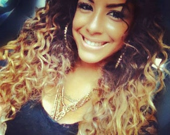 Kinky Curly Curl Brazilian ombre Dip Dye Human Double Weft Clip In Hair Extensions  #1B Off Black  #27 Caramel Blonde
